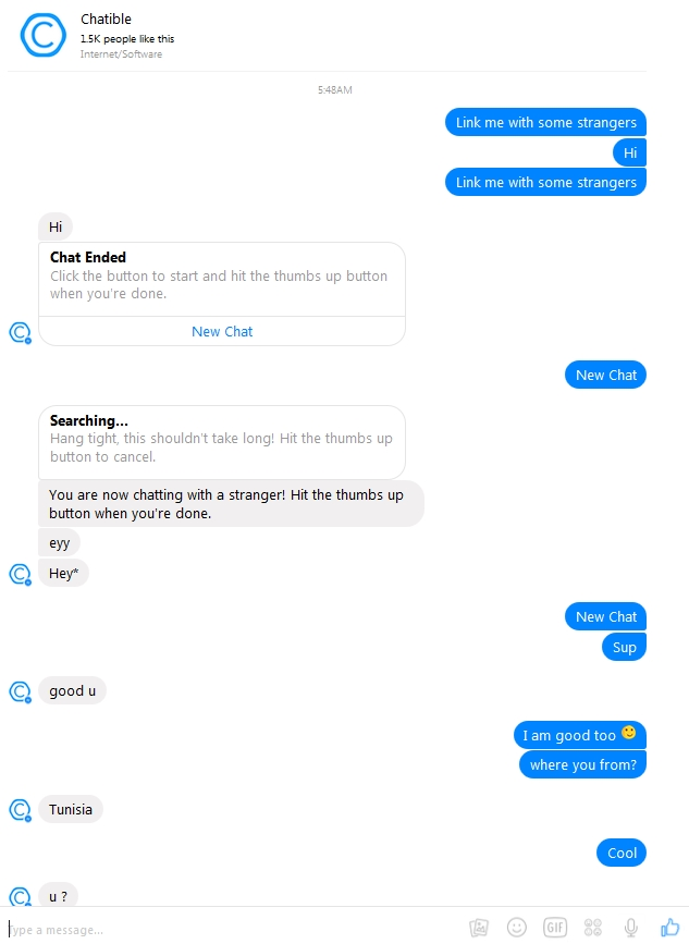Text chat with strangers