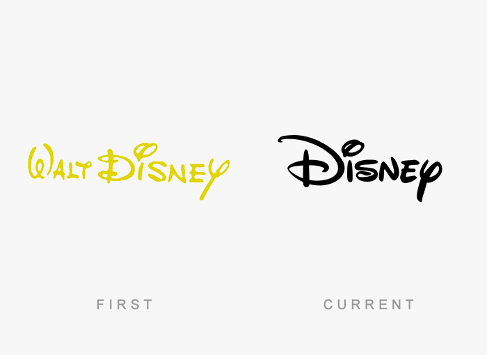 Walt Disney old and new logo