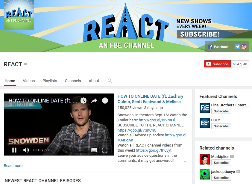 REACt Youtube Channel